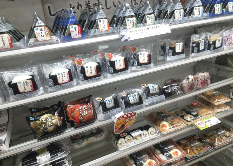 Onigiri displayed on a konbini shelf