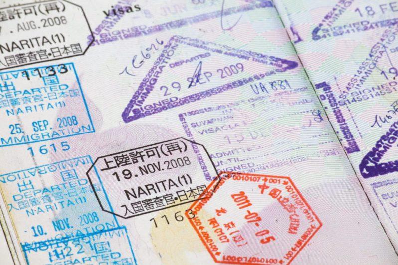 Estampas de vistos em passaporte