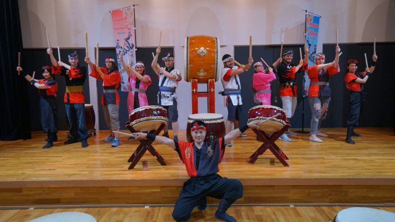 Taiko lesson in Japan