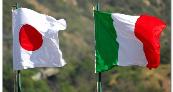 bandiera giapponese e italiana