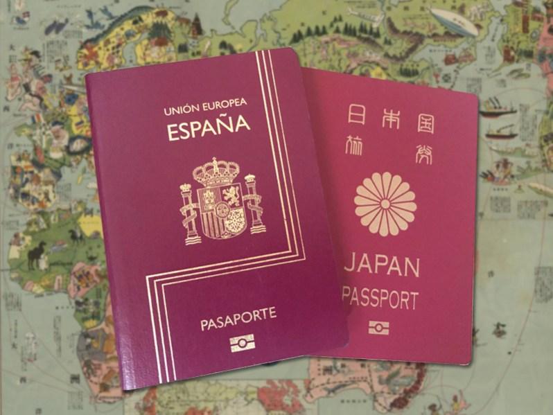 pasaportes español y japonés