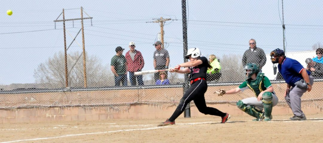 Dawson Community College Softball McKenzie Bassett Home Run. April 4, 2015. Copyright Go Gonzo Journal.