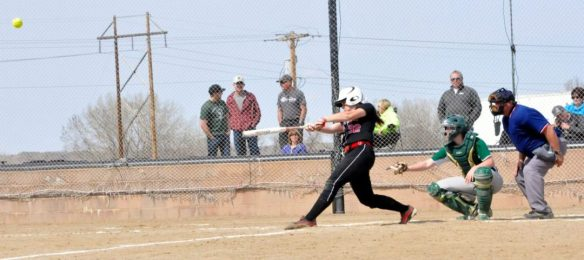 Dawson Community College Softball McKenzie Bassett Home Run. April 4, 2015. Copyright Go Gonzo Journal.