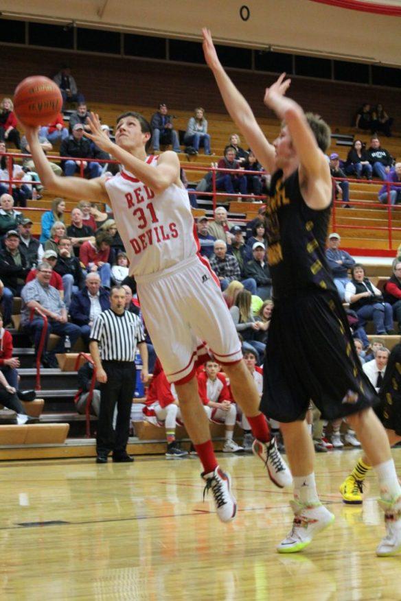 Dawson County High School Boys Basketball Bret Vester Layup Feb. 13, 2015. Copyright Go Gonzo Journal.