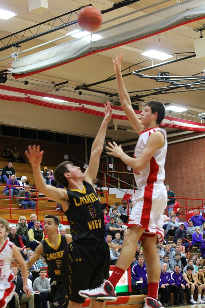 Dawson County High School Boys Basketball Bret Vester Hook Shot. Jan. 2015. Copyright Go Gonzo Journal.