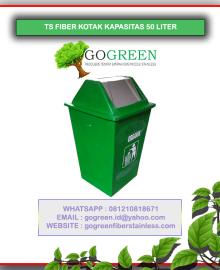 jual tempat sampah fiber kotak kapasitas 50 liter, daftar harga tong sampah terbaru, harga tempat sampah kotak