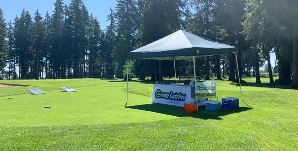 Green Latrine Tent at sponsored for a golf tournament