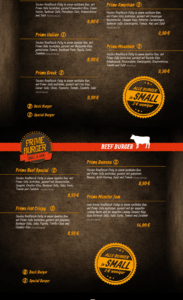 Speisekarte Prime Burger