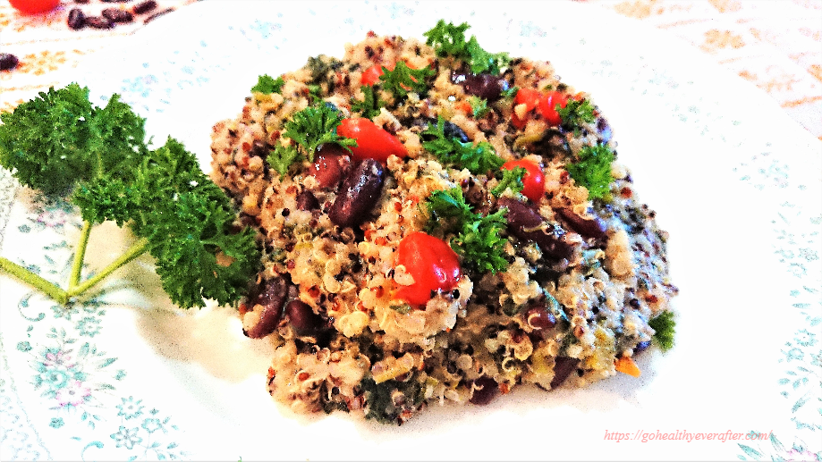 close-up view of lemon-garlic quinoa with kidney beans