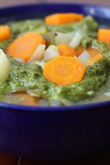 A bowl of pistou soup