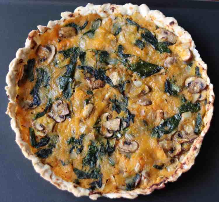 A pumpkin and spinach quiche