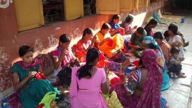Lambani women working at the Sandur Kushala Kala Kendra