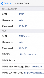 Cara Setelan APN Axis di iOS