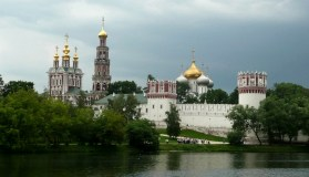Novodevichy Convent on a stormy summer afternoon.