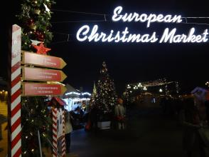 European Christmas Market at the Okhotsny Ryad near the Kremlin and the Red Square