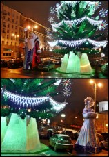 Ded Moroz and Snegurochka welcome you to the Tverskaya Square
