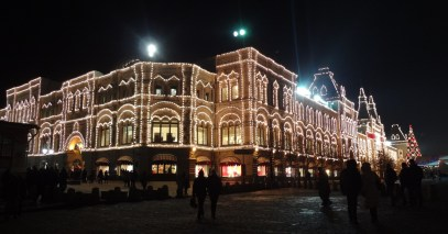 GUM luxury shopping mall stretches along the east side of the Red Square