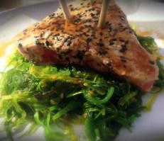 Sesame Seared Tuna, seaweed salad.