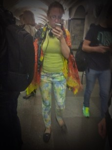Loud, clashing colors? Check. Loud, clashing patterns? Check. Stylish Moscow outfit is complete.
