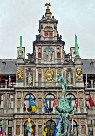 City Hall and Brabo Fountain in Grote Markt in Antwerp