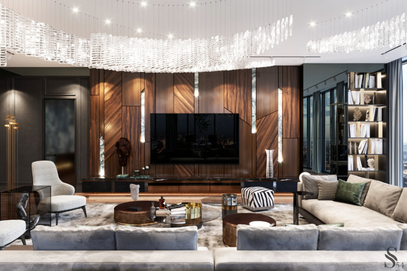 Thiết kế và trang trí nội thất phòng khách sang trọng tân cổ điển