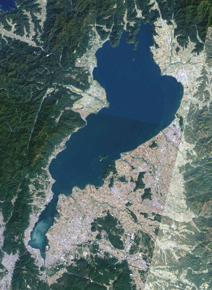 Aerial view of Lake Biwa