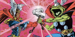 Storm with Thor's hammer and Thor as a Frog