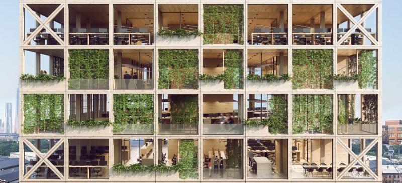 Fachada pixel busca integrar natureza e ambiente corporativo