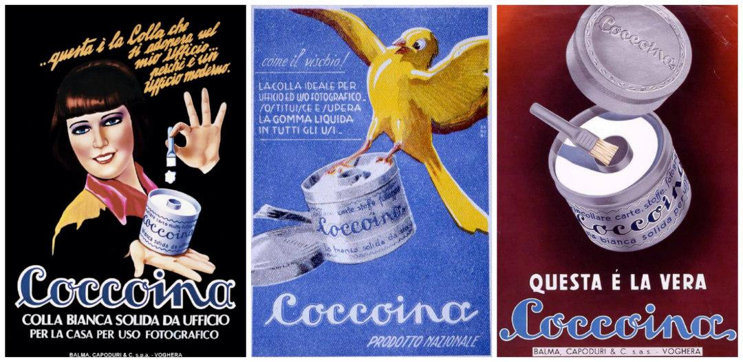 coccoina colla pasta pubblicita storiche