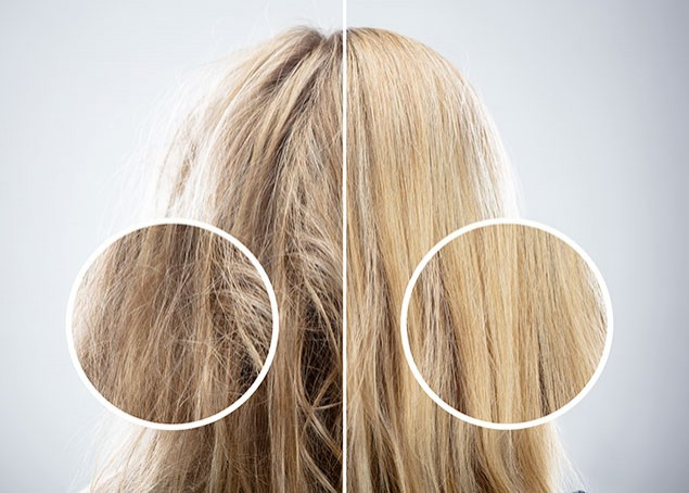 senza e con cheratina per capelli