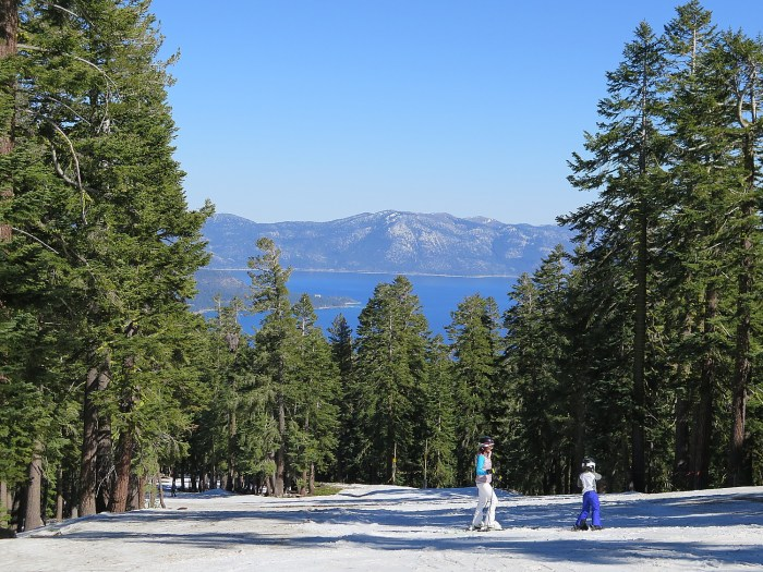 The stunning view of Lake Tahoe from East Ridge trail at Northstar California. The snow conditions were remarkable even at the end of the season, despite California's drought and warm temps. © 2015 Karen Rubin/news-photos-features.com