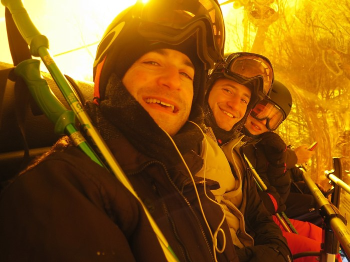 It's 3 degrees but we're happy as clams inside the Quantum Four bubble chair on Okemo Mountain, Vermont © 2016 Karen Rubin/news-photos-features.com