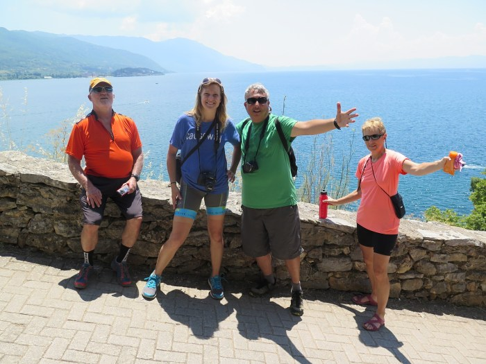 Our BikeTours group in the historic city of Ohrid © 2016 Karen Rubin/goingplacesfarandnear.com