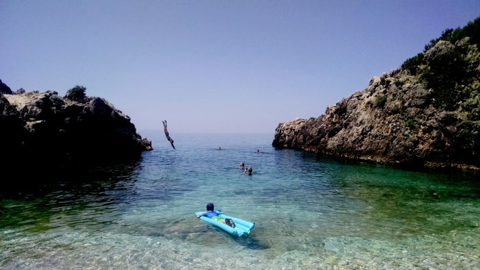 Kayaking to a secluded beach along Albania's Ionian seacoast © 2016 Karen Rubin/goingplacesfarandnear.com
