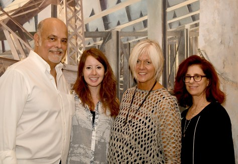 Gold Coast Arts Center gallery curator Jude Amsel with 'Interiors' artists Orestes Gonzalez, Laini Nemett and Maxi Cohen © 2016 Karen Rubin/goingplacesfarandnear.com