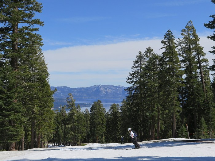 Skiing at Northstar California, with a view of Lake Tahoe. New this year: EpicMix Time guests to access real-time lift line wait times enabling them to better navigate the mountain and make the most out of their ski and ride experience © 2016 Karen Rubin/goingplacesfarandnear.com
