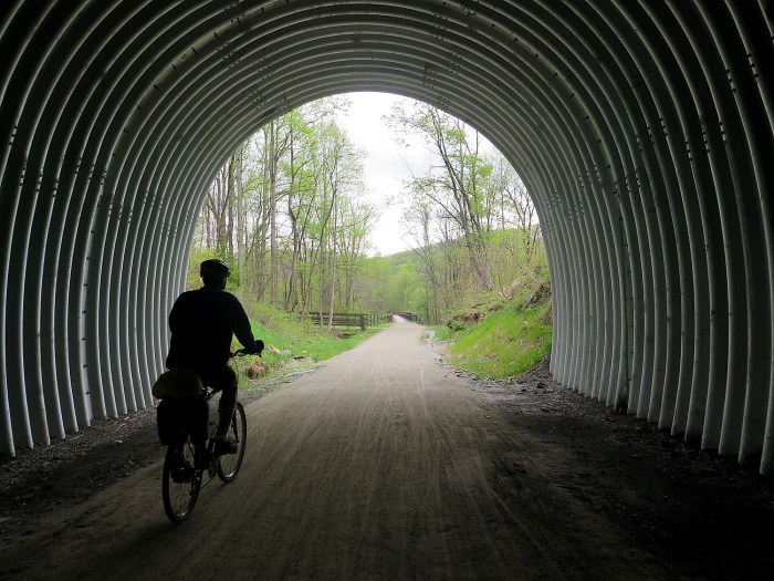 A highlight of this section of the Great Allegheny Passage ride is going through the Pinkerton Tunnel, only recently rebuilt and reopened © 2016 Karen Rubin/goingplacesfarandnear.com