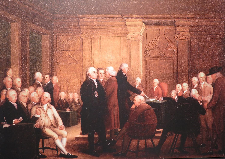 Benjamin Franklin Signing The Declaration Of Independence