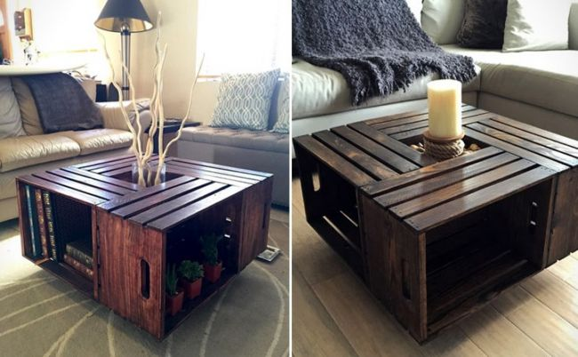 Crates Unique Wood Coffee Table