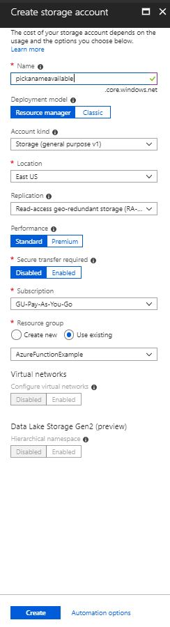 Azure Functions Coding Storage Account