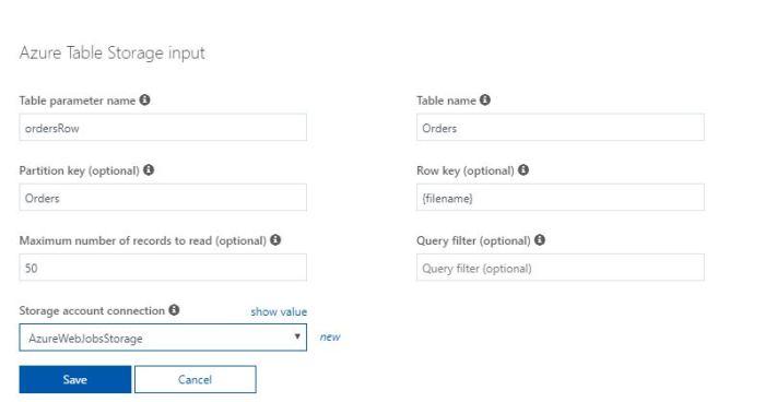 Azure Functions Tutorial Configure Table Input