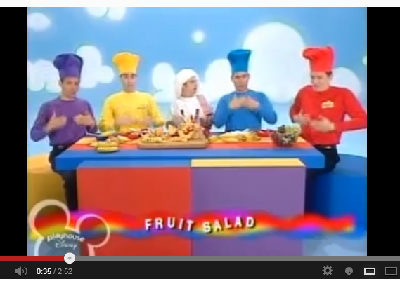 The Wiggles make a fruit salad (video)