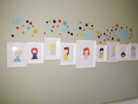 Grace's room, princess theme, princess pictures