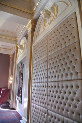 Tufted leather wall detail