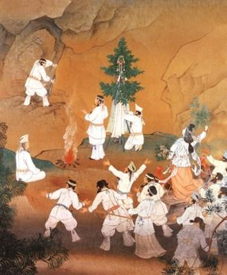 The Gods' meeting in front of rock cave