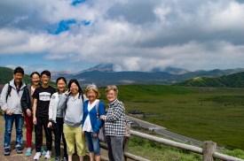 Observation deck, overlooking Kusasenri & Mt Nakadake, Aso