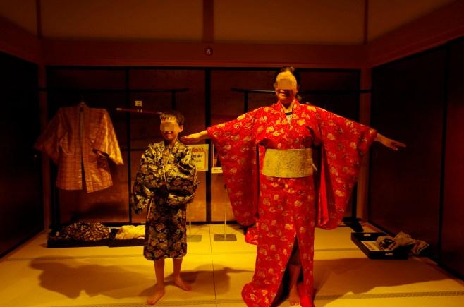 Trying Kimono on at Josai-en, Kumamoto city