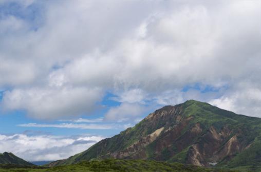 Mt Eboshi, one of the 5 peaks of Mt Aso
