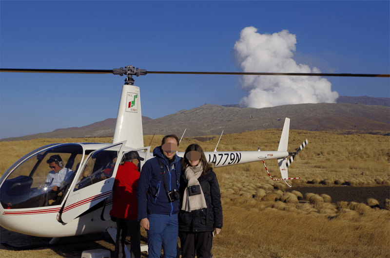 Helicopter ride above Mt Aso's crater