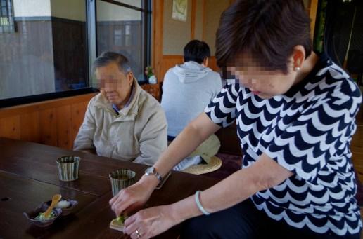 Grating Wasabi for soba noodles at lunch
